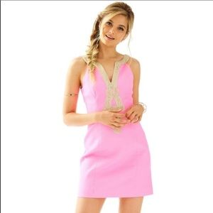 NWT Lilly Pulitzer pink and gold emery shift Dress